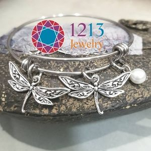 Artist Created PEARL Dragonfly Bracelet Expandable